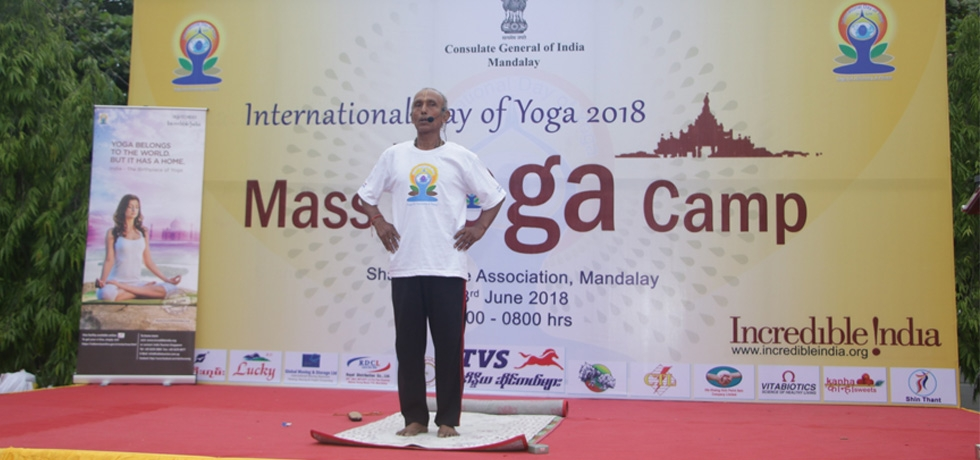 Celebration of 4th International Day of Yoga in Mandalay  23rd June 2018