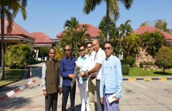 National Highways Authority of India  officers stationed in Monwya greeting and briefing Hon'ble Speaker, Manipur Legislative Assembly about the progress of Yargyi- Kalewa Upgradation of Road project
