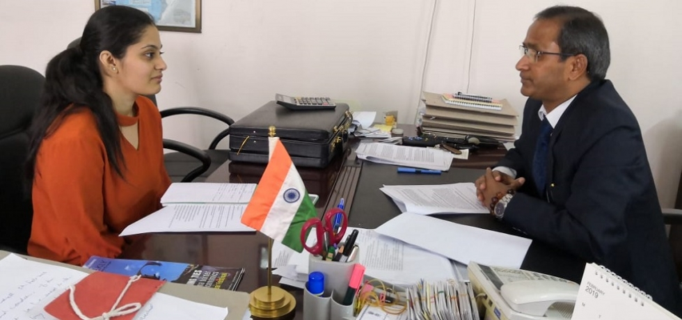 Consul General being interviewed by Ms P. S. Ramya, Ph. D.  Scholar, South Asian University, New Delhi about India- Myanmar Relations & Act East Policy