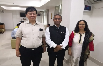 Consul General meeting with H.E. Mr. Moe Kyaw Aung, Ambassador of Myanmar in India and discussing about bilateral relations between the two countries.