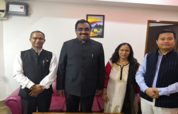Consul General meeting with Hon.Shri Ram Madahav, National General Secretary, BJP and briefing him about various issues for connectivity and  people to people contacts between North East India and Myanmar.