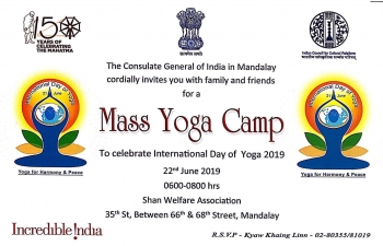 Celebration of 5th International Day of Yoga on 22nd June 2019 at Shan Welfare Association from 0600 hours to 0800 hours