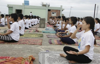 Yoga Practice Session at Phaung Daw Oo Monastic Education High School prior to the Mass Yoga Camp to celebrate the International Day of Yoga 2019 #IDY2019 (to be celebrated on 22nd June 2019)