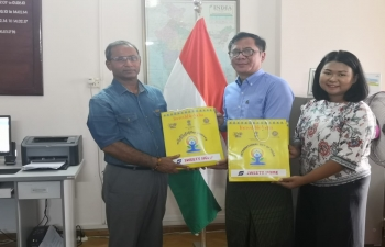 Consul General meeting with management of Buddhagaya Pilgrimage Working Committee, Myanmar and discussing about connectivity, flight frequencies and promotion of tourism in India and Myanmar.