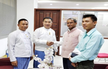 Consul General meeting with Hon. U Kyaw Min, President, Mandalay Region Chamber of Commerce & Industry and U Oakkar Kyaw, Secretary General and discussing about organising Trade Promotion Events.