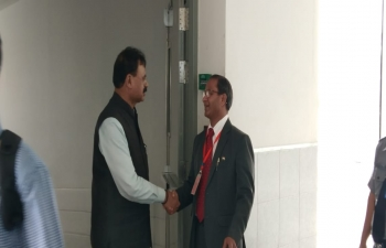 Consul General receiving H.E. Shri Chandra Mohan Patowary, Hon. Minister- Act East Policy Affairs, Industries & Commerce, Govt. of Assam on his arrival at Mandalay International  Airport.