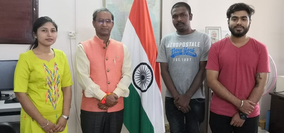 Three Myanmar candidates participating in 55th Know India Programme (Partner State Goa) met the Consul General prior to their departure for India
