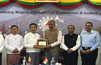 Meeting between Ambassador Shri  Saurabh Kumar and U Kyaw Min, President, Mandalay Region Chamber of Commerce & Industry.