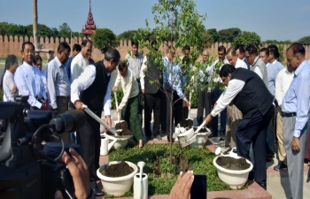 In commemoration of 150th Birth Anniversary of  Mahatma Gandhi, Sandalwood Tree Planting Ceremony at East of the Mandalay Palace Moat by Mayor & Minister for Development Affairs.