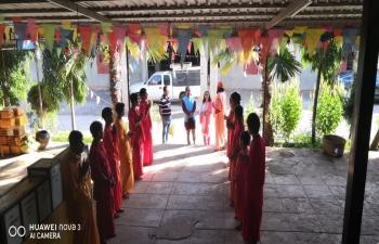 CG visiting Shri Ashutosh Shiv Tapodham Ashram near Taunggyi where more than 50 students study about Indian culture, Yoga, Sanskrit etc