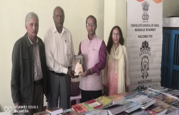 As part of Outreach Programme, CG meeting with Indian Community at Kalaw, Scholarship Awareness and  distribution of books on Indian Culture, Yoga, Hindi CBSE Class 1 to 10, Mahatma Gandhi etc.  on the occasion of 150th Birth Anniversary of Mahatma Gandhi