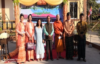 Consul General Mr.Nandan Singh Bhaisora and Madam Rashmi Bhaisora with H. E. U Aung Kyaw Oo, Speaker, Mandalay Region Parliament and Madam, during the Ceremony of Pouring Drops of Water for Aung Tan Thar Yatana Monastery Building where Yoga Training Centre, Sanskrit Learning Centre and English Learning Centre is being opened to bring the people of India and Myanmar closer, enhance people to people contacts, also maintain the rich cultural heritage of India and giving better knowledge of English to Myanmar youth.