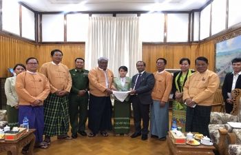 Paid a farewell courtesy call on H. E. Dr. Myint Naing, Chief Minister of Sagaing Region, 7 Ministers being present. CM hosted a farewell lunch. Discussed various connectivity projects-Kalewa-Yargyi, 69 Bridges, ICP, Tamu, Lahe Project, Industrial Training Centre , Monywa, Coordinated Bus Service, Projects in Naga Self Admn. Zone, proposal for Drainage system, men football team and cultural troupes to be sent to Manipur, ITEC and ICCR Scholarships. CM and all Ministers spoke highly about the Consulate's role in strengthening Bilateral relations in various fields in last 3 years.