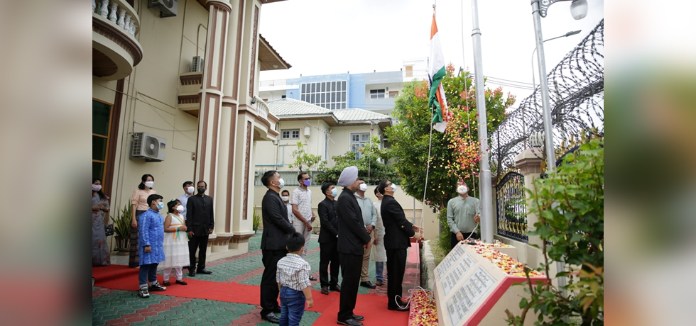 Celebrations of 75th Independence Day at Consulate General of India, Mandalay (Myanmar) on August 15, 2021
